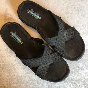 Skechers memory foam slides. Size 9. Black